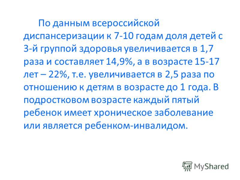 По данным всероссийской диспансеризации к 7-10 годам доля детей с 3-й группой здоровья увеличивается в 1,7 раза и составляет 14,9%, а в возрасте 15-17 лет – 22%, т.е. увеличивается в 2,5 раза по отношению к детям в возрасте до 1 года. В подростковом
