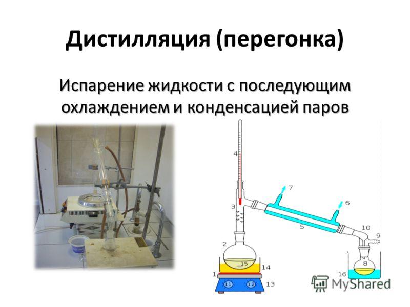 Дистилляция (перегонка) Испарение жидкости с последующим охлаждением и конденсацией паров