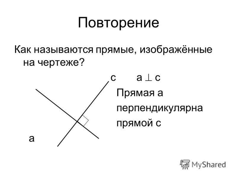 Повторение Как называются прямые, изображённые на чертеже? с а с Прямая а перпендикулярна прямой с а