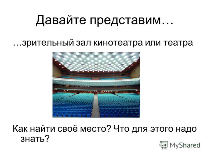 Давайте представим… …зрительный зал кинотеатра или театра Как найти своё место? Что для этого надо знать?