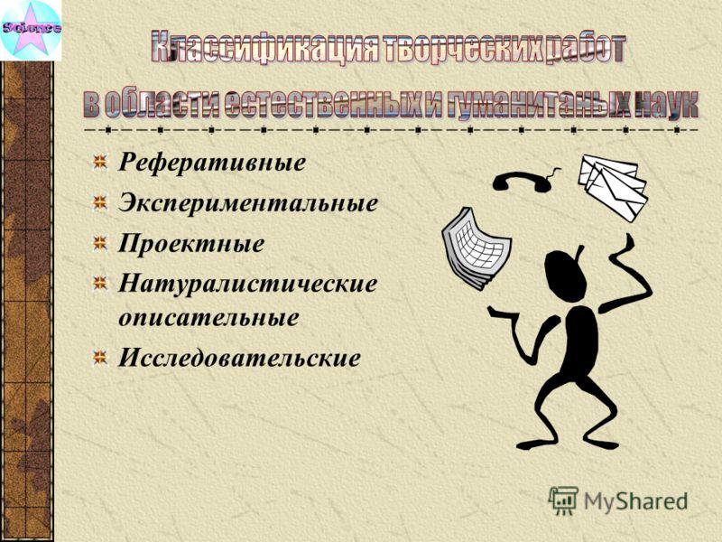 Реферативные Экспериментальные Проектные Натуралистические описательные Исследовательские