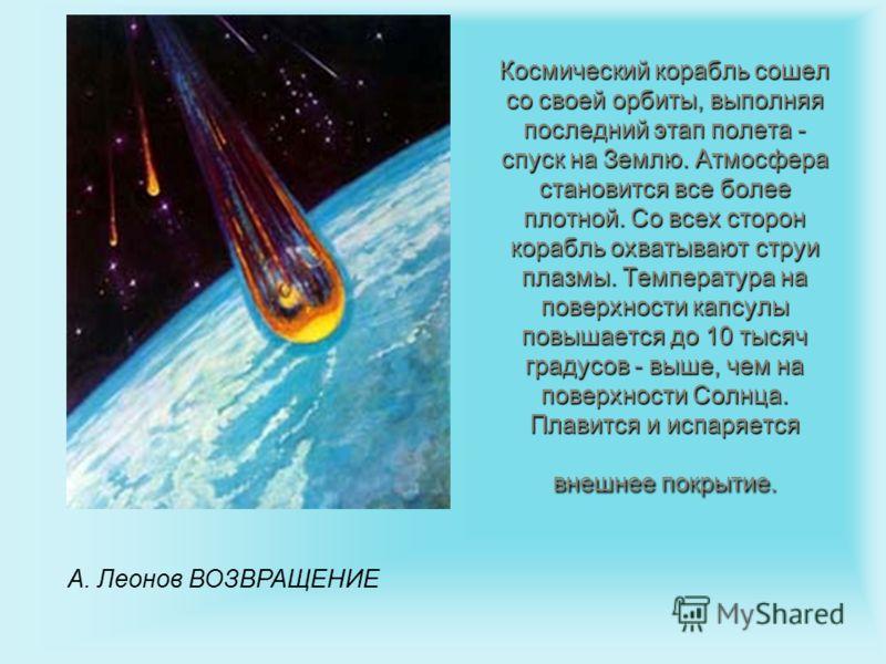 Космический корабль сошел со своей орбиты, выполняя последний этап полета - спуск на Землю. Атмосфера становится все более плотной. Со всех сторон корабль охватывают струи плазмы. Температура на поверхности капсулы повышается до 10 тысяч градусов - в