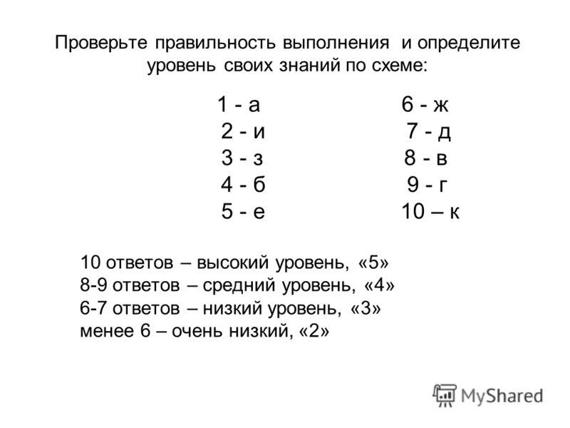 Проверьте правильность выполнения и определите уровень своих знаний по схеме: 1 - а 6 - ж 2 - и 7 - д 3 - з 8 - в 4 - б 9 - г 5 - е 10 – к 10 ответов – высокий уровень, «5» 8-9 ответов – средний уровень, «4» 6-7 ответов – низкий уровень, «3» менее 6