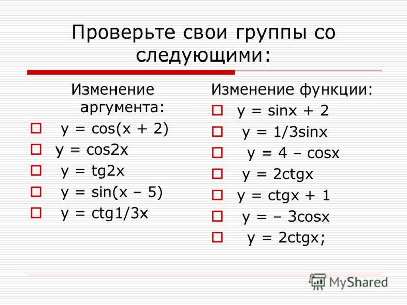 Проверьте свои группы со следующими: Изменение аргумента: y = cos(x + 2) y = cos2x y = tg2x y = sin(x – 5) y = ctg1/3x Изменение функции: y = sinx + 2 y = 1/3sinx y = 4 – cosx y = 2ctgx y = ctgx + 1 y = – 3cosx y = 2ctgx;