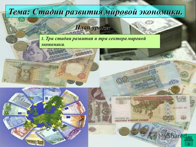 Тема: Стадии развития мировой экономики. План урока: План урока: 1. Три стадии развития и три сектора мировой экономики.