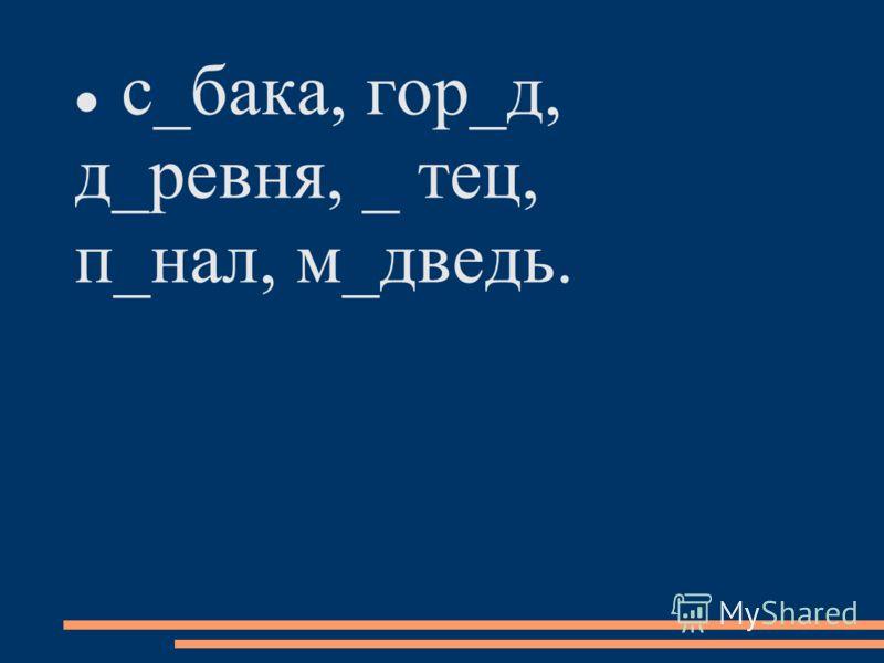 с_бака, гор_д, д_ревня, _ тец, п_нал, м_дведь.