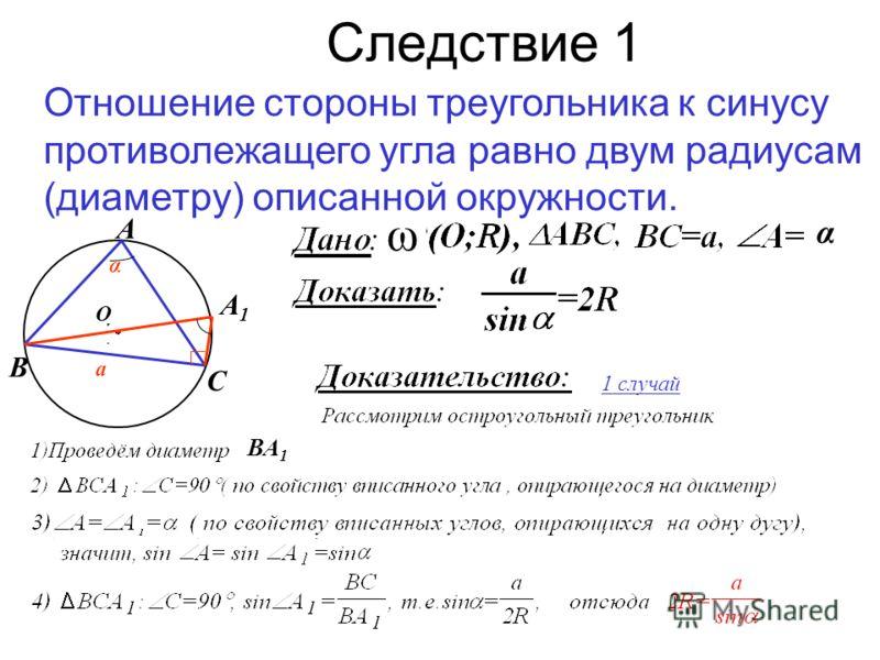 Следствие 1 Отношение стороны треугольника к синусу противолежащего угла равно двум радиусам (диаметру) описанной окружности. ω А В С α О α а 1 случай А1А1 ВА 1