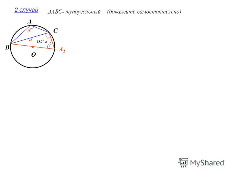 2 случай ΔАВС- тупоугольный(докажите самостоятельно). А В А1А1 С О а α 180°-α