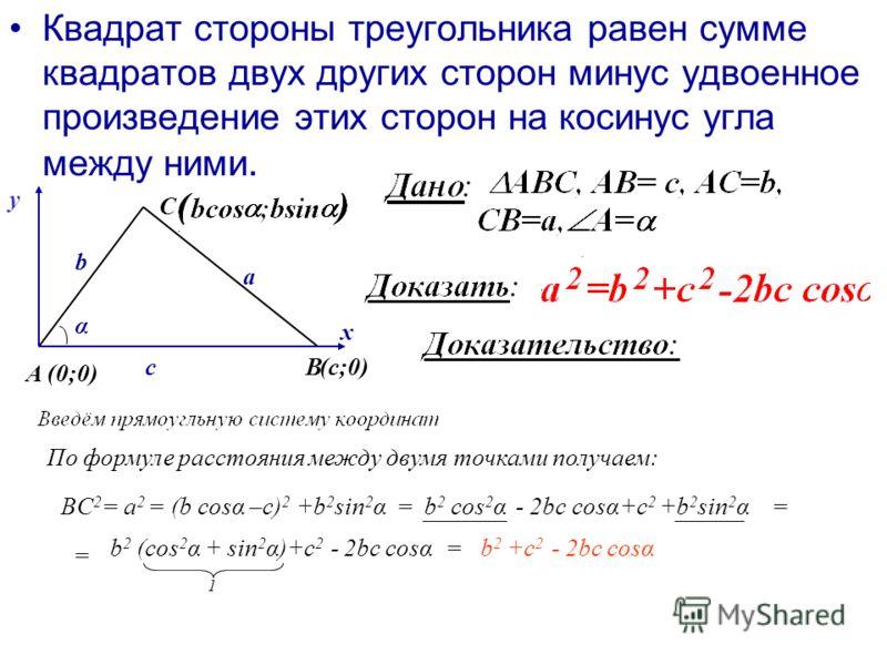 Квадрат стороны треугольника равен сумме квадратов двух других сторон минус удвоенное произведение этих сторон на косинус угла между ними. b В А С a α c х у (0;0) (с;0) По формуле расстояния между двумя точками получаем: BC 2 = a 2 = (b cosα –c) 2 +b