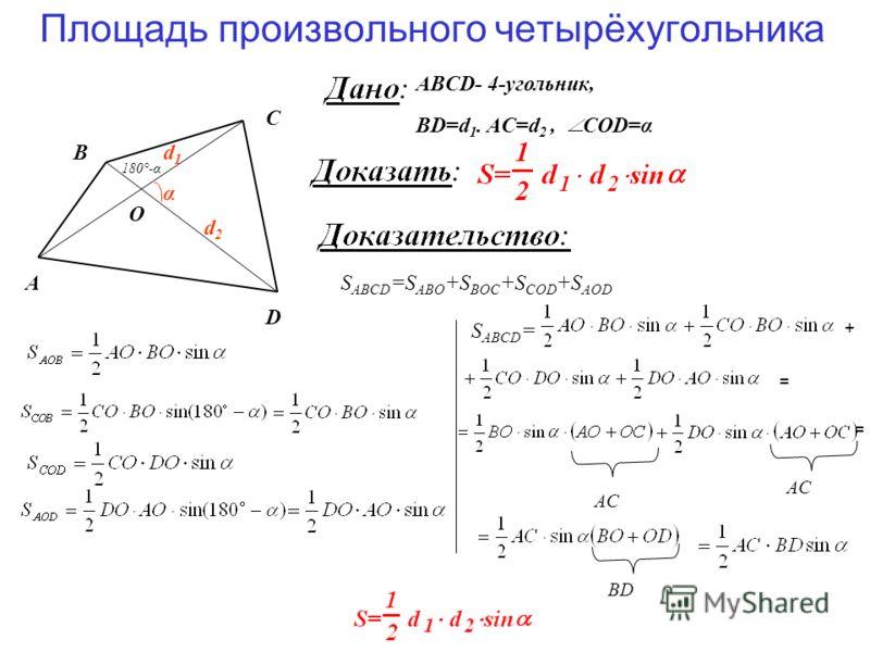 Площадь произвольного четырёхугольника A D B C α O d1d1 d2d2 ABCD- 4-угольник, BD=d 1. AC=d 2, СOD=α S ABCD =S ABO +S BOC +S COD +S AOD 180°-α S ABCD = + = = BD AC