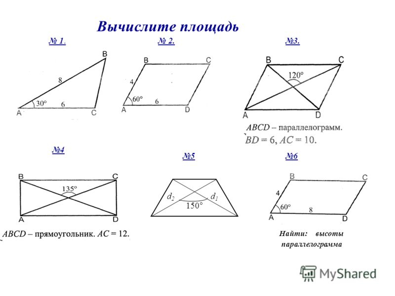 1. Вычислите площадь 3. 4 5 d1d1 2. d2d2 150° d1d1 Найти: высоты параллелограмма 6