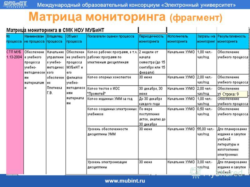 www.mubint.ru Международный образовательный консорциум «Электронный университет» Матрица мониторинга (фрагмент)