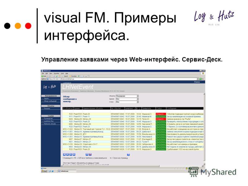 visual FM. Примеры интерфейса. Управление заявками через Web-интерфейс. Сервис-Деск.