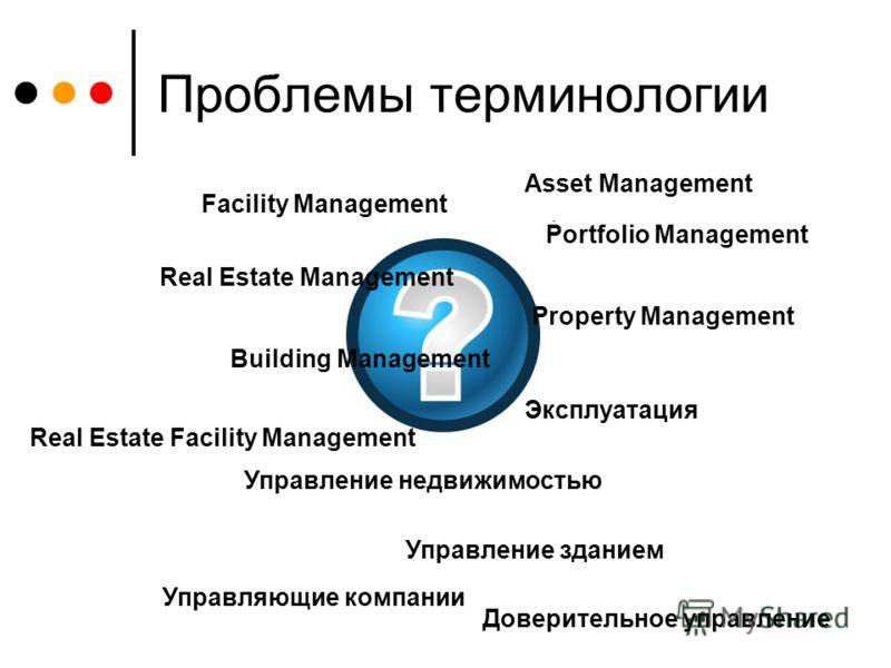 Проблемы терминологии Facility Management Real Estate Management Asset Management Property Management Building Management Эксплуатация Управление зданием Управление недвижимостью Portfolio Management Real Estate Facility Management Управляющие компан