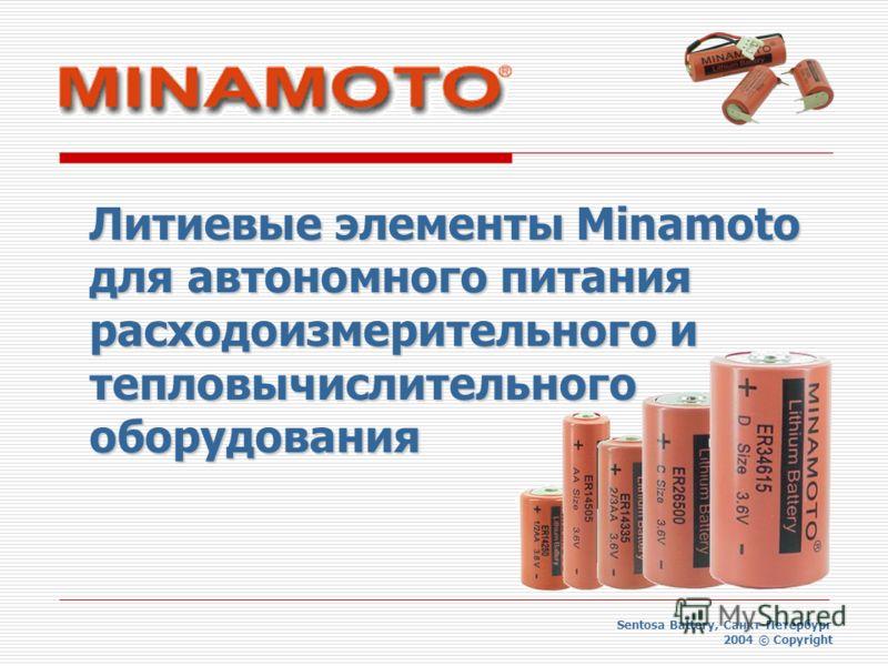 Литиевые элементы Minamoto для автономного питания расходоизмерительного и тепловычислительного оборудования Sentosa Battery, Санкт-Петербург 2004 © Copyright