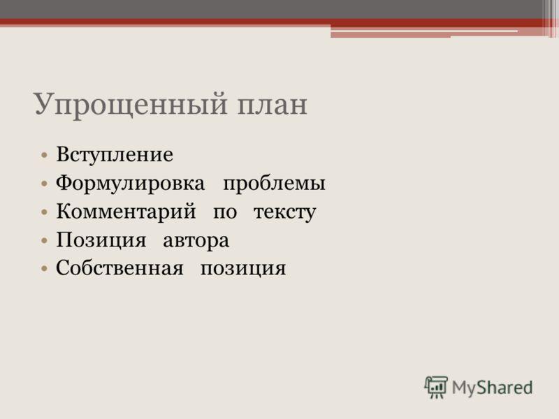 Упрощенный план Вступление Формулировка проблемы Комментарий по тексту Позиция автора Собственная позиция