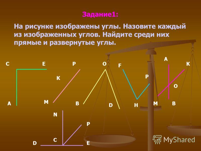 Задание1: На рисунке изображены углы. Назовите каждый из изображенных углов. Найдите среди них прямые и развернутые углы. К А А СЕ М Р К В О D F H P E М О В D С P N