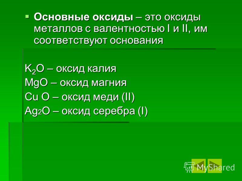 Основные оксиды – это оксиды металлов с валентностью I и II, им соответствуют основания Основные оксиды – это оксиды металлов с валентностью I и II, им соответствуют основания K 2 O – оксид калия MgO – оксид магния Cu O – оксид меди (II) Ag 2 O – окс