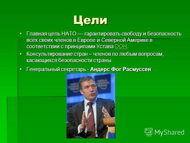 Цели Цели Главная цель НАТО гарантировать свободу и безопасность всех своих членов в Европе и Северной Америке в соответствии с принципами Устава ООН. Главная цель НАТО гарантировать свободу и безопасность всех своих членов в Европе и Северной Америк