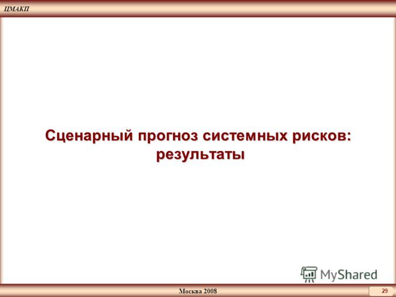 ЦМАКП Москва 2008 29 Сценарный прогноз системных рисков: результаты