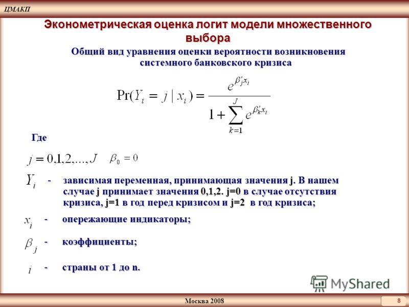 ЦМАКП Москва 2008 8 Эконометрическая оценка логит модели множественного выбора Где - опережающие индикаторы; -зависимая переменная, принимающая значения j. В нашем случае j принимает значения 0,1,2. j=0 в случае отсутствия кризиса, j=1 в год перед кр