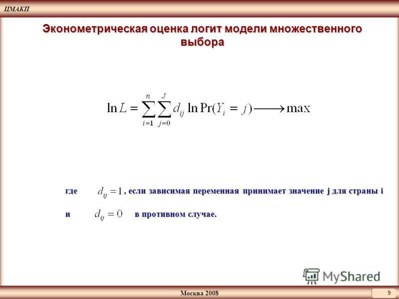 ЦМАКП Москва 2008 9 Эконометрическая оценка логит модели множественного выбора где, если зависимая переменная принимает значение j для страны i и в противном случае.