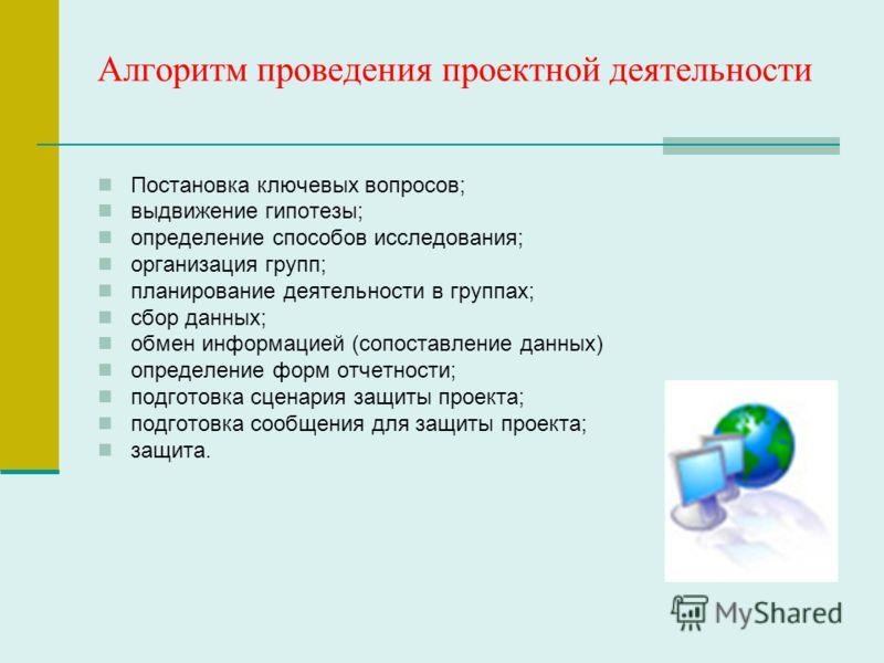 Алгоритм проведения проектной деятельности Постановка ключевых вопросов; выдвижение гипотезы; определение способов исследования; организация групп; планирование деятельности в группах; сбор данных; обмен информацией (сопоставление данных) определение