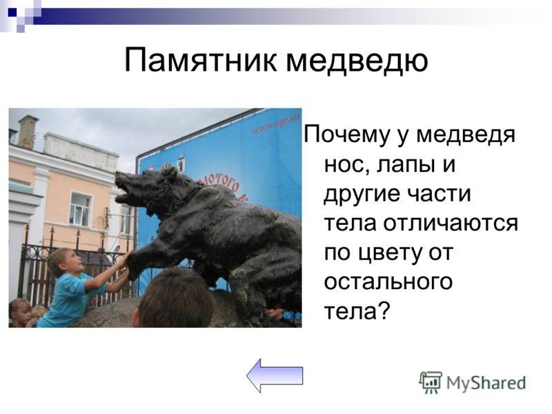 Памятник медведю Почему у медведя нос, лапы и другие части тела отличаются по цвету от остального тела?