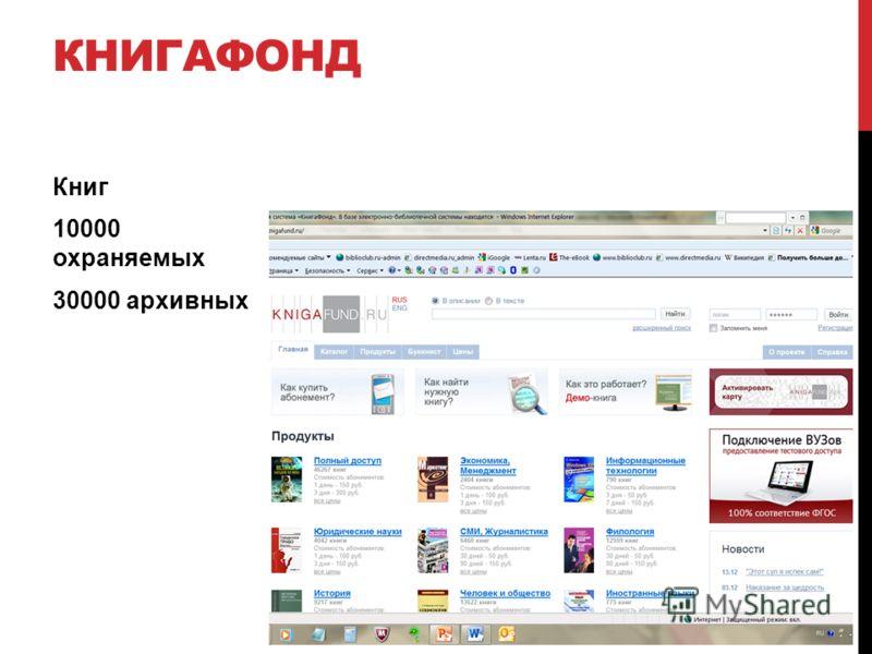КНИГАФОНД Книг 10000 охраняемых 30000 архивных
