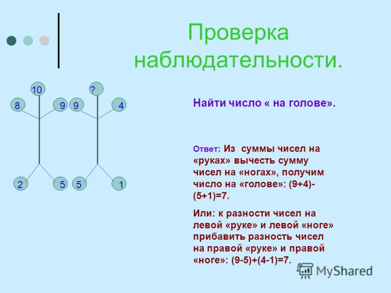 Проверка наблюдательности. 98 10 25 999 ? 51 4 Найти число « на голове». Ответ: Из суммы чисел на «руках» вычесть сумму чисел на «ногах», получим число на «голове»: (9+4)- (5+1)=7. Или: к разности чисел на левой «руке» и левой «ноге» прибавить разнос