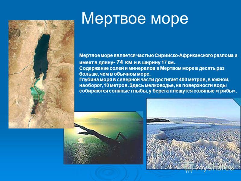 Мертвое море является частью Сирийско-Африканского разлома и имеет в длину - 74 км и в ширину 17 км. Содержание солей и минералов в Мертвом море в десять раз больше, чем в обычном море. Глубина моря в северной части достигает 400 метров, в южной, нао