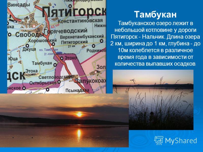 Тамбукан Тамбуканское озеро лежит в небольшой котловине у дороги Пятигорск - Нальчик. Длина озера 2 км, ширина до 1 км, глубина - до 10м колеблется в различное время года в зависимости от количества выпавших осадков.