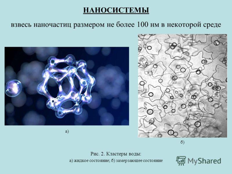 НАНОСИСТЕМЫ взвесь наночастиц размером не более 100 нм в некоторой среде Рис. 2. Кластеры воды: а) жидкое состояние; б) замерзающее состояние а) б)