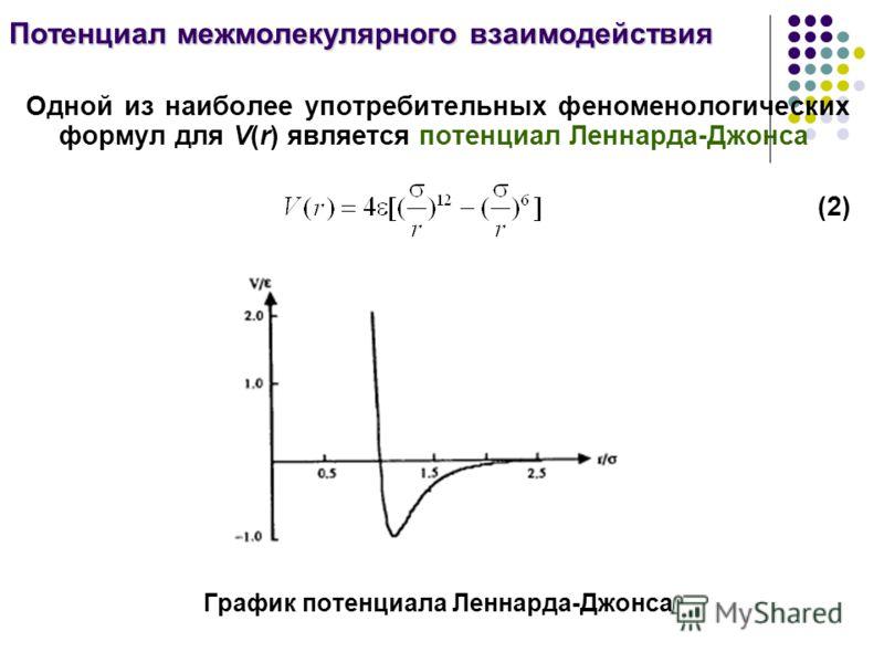 Одной из наиболее употребительных феноменологических формул для V(r) является потенциал Леннарда-Джонса (2) График потенциала Леннарда-Джонса