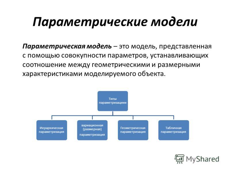 Параметрические модели Параметрическая модель – это модель, представленная с помощью совокупности параметров, устанавливающих соотношение между геометрическими и размерными характеристиками моделируемого объекта. Типы параметризациии Иерархическая па