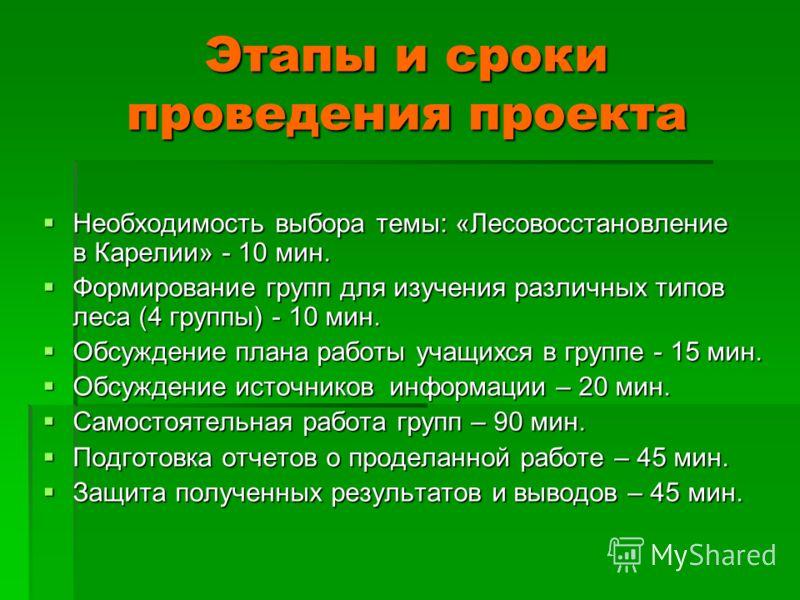 Этапы и сроки проведения проекта Необходимость выбора темы: «Лесовосстановление в Карелии» - 10 мин. Необходимость выбора темы: «Лесовосстановление в Карелии» - 10 мин. Формирование групп для изучения различных типов леса (4 группы) - 10 мин. Формиро