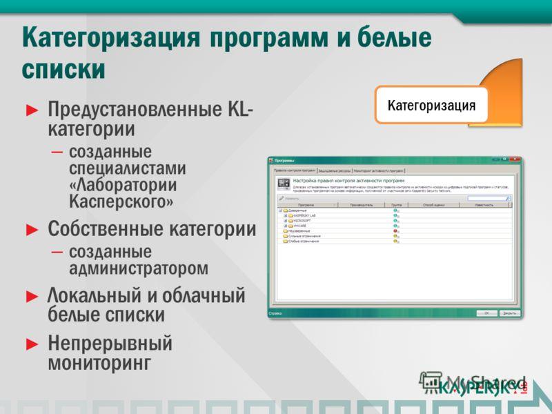 Предустановленные KL- категории – созданные специалистами «Лаборатории Касперского» Собственные категории – созданные администратором Локальный и облачный белые списки Непрерывный мониторинг Категоризация