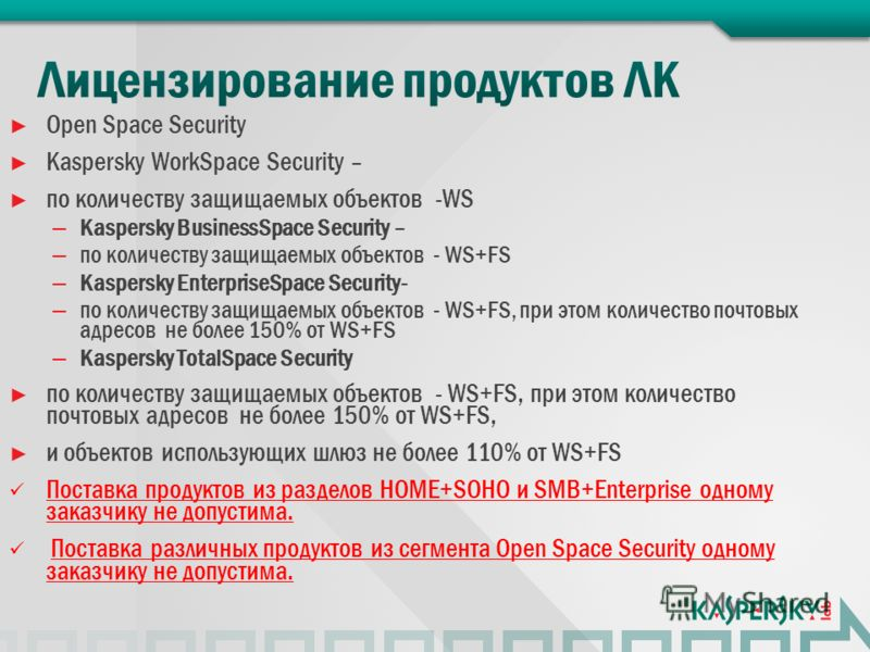 Open Space Security Kaspersky WorkSpace Security – по количеству защищаемых объектов -WS – Kaspersky BusinessSpace Sеcurity – – по количеству защищаемых объектов - WS+FS – Kaspersky EnterpriseSpace Sеcurity- – по количеству защищаемых объектов - WS+F