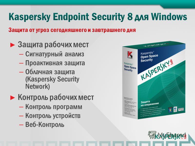 Защита рабочих мест – Сигнатурный анализ – Проактивная защита – Облачная защита (Kaspersky Security Network) Контроль рабочих мест – Контроль программ – Контроль устройств – Веб-Контроль