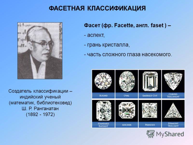 ФАСЕТНАЯ КЛАССИФИКАЦИЯ Создатель классификации – индийский ученый (математик, библиотековед) Ш. Р. Ранганатан (1892 - 1972) Фасет (фр. Facette, англ. faset ) – - аспект, - грань кристалла, - часть сложного глаза насекомого.