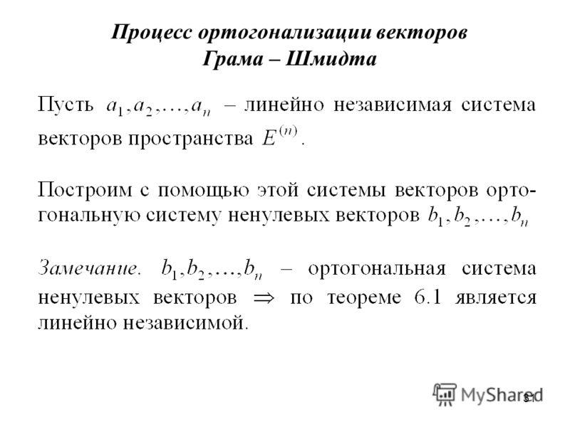 31 Процесс ортогонализации векторов Грама – Шмидта