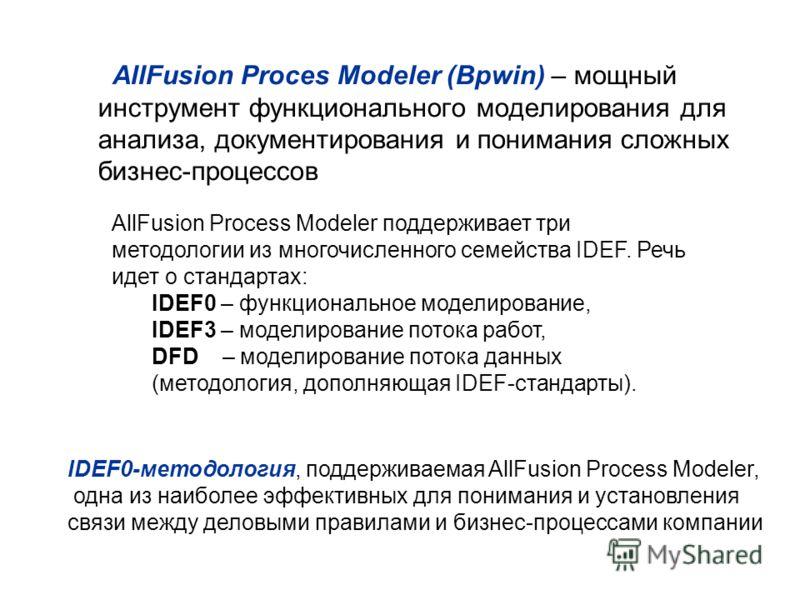 AllFusion Proces Modeler (Bpwin) – мощный инструмент функционального моделирования для анализа, документирования и понимания сложных бизнес-процессов AllFusion Process Modeler поддерживает три методологии из многочисленного семейства IDEF. Речь идет