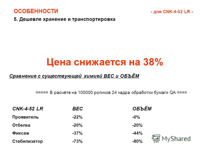 5. Дешевле хранение и транспортировка ОСОБЕННОСТИ - для CNK-4-52 LR - Цена снижается на 38% CNK-4-52 LRВЕСОБЪЁМ Проявитель-22%-0% Отбелка-20%-20% Фиксаж-37%-44% Стабилизатор-73%-80% Сравнение с существующей химией ВЕС и ОБЪЁМ ===== В расчёте на 10000