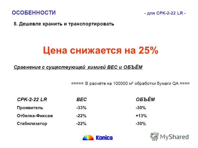 5. Дешевле хранить и транспортировать CPK-2-22 LRВЕСОБЪЁМ Проявитель-33%-30% Отбелка-Фиксаж-22%+13% Стабилизатор-22%-30% ОСОБЕННОСТИ - для CPK-2-22 LR - Цена снижается на 25% Сравнение с существующей химией ВЕС и ОБЪЁМ ===== В расчёте на 100000 м² об
