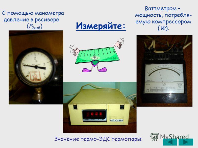 Измеряйте: С помощью манометра давление в ресивере (Р 2изб ) Ваттметром – мощность, потребля- емую компрессором (W). Значение термо-ЭДС термопары