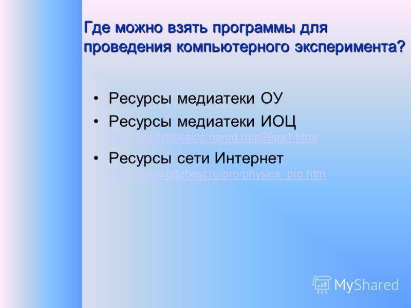 Где можно взять программы для проведения компьютерного эксперимента? Ресурсы медиатеки ОУ Ресурсы медиатеки ИОЦ http://mediatekaioc.narod.ru/p99aa1.html http://mediatekaioc.narod.ru/p99aa1.html Ресурсы сети Интернет http://www.gdzbest.ru/pro/physics_
