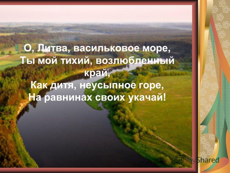 О, Литва, васильковое море, Ты мой тихий, возлюбленный край, Как дитя, неусыпное горе, На равнинах своих укачай!