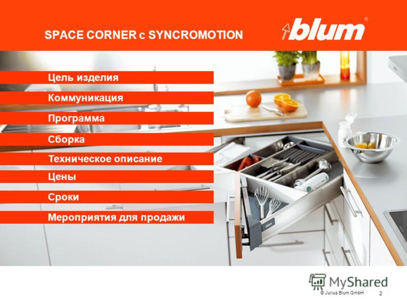 2 © Julius Blum GmbH SPACE CORNER с SYNCROMOTION Программа Коммуникация Цены Цель изделия Сборка Сроки Мероприятия для продажи Техническое описание