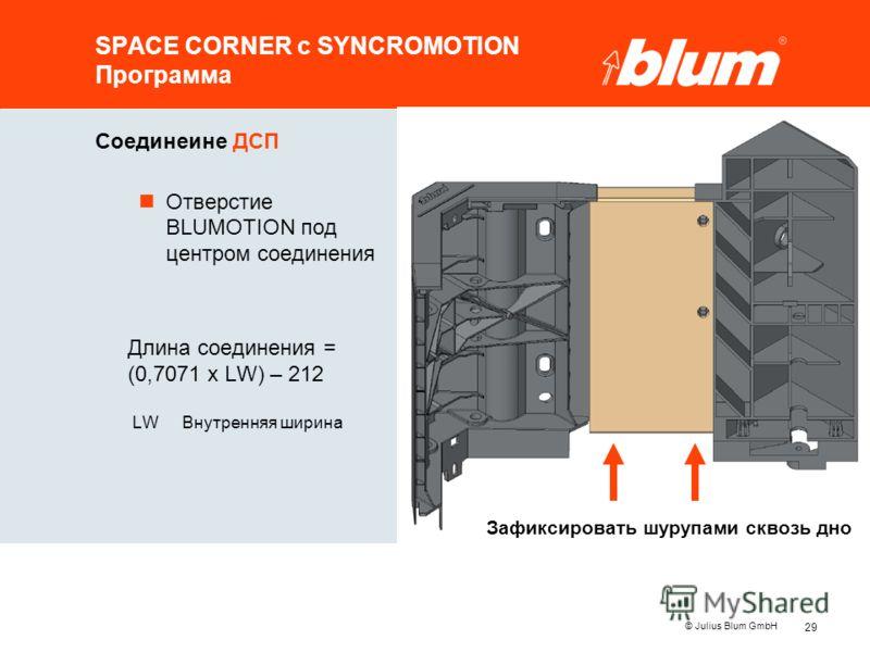 29 © Julius Blum GmbH SPACE CORNER с SYNCROMOTION Программа Соединеине ДСП nОтверстие BLUMOTION под центром соединения Длина соединения = (0,7071 x LW) – 212 LWВнутренняя ширина Зафиксировать шурупами сквозь дно