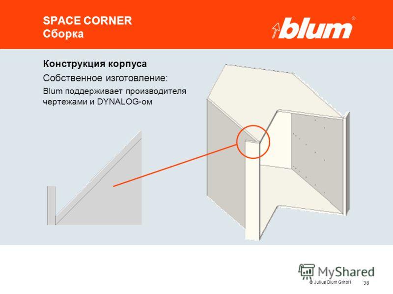 38 © Julius Blum GmbH SPACE CORNER Сборка Конструкция корпуса Собственное изготовление: Blum поддерживает производителя чертежами и DYNALOG-ом